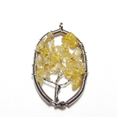 Pandantiv oval, cu chips citrine, copacul vietii, 57x36x3.5mm 1 buc