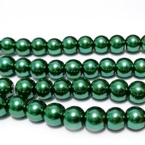 Perle sticla, sferice, verde inchis, 6mm 10 buc