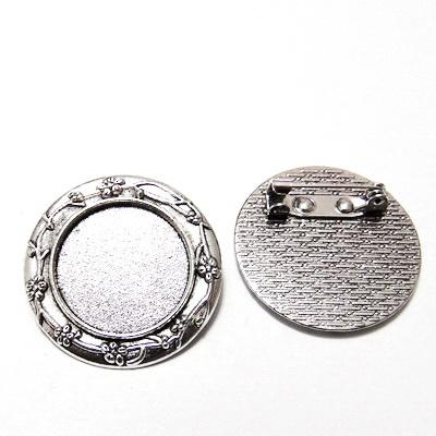 Baza cabochon, argint tibetan, brosa 30x2mm, interior 20mm 1 buc