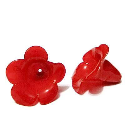 Flori plastic rosu, 21x26mm 1 buc