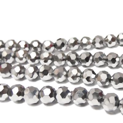 Margele sticla multifete, placate argintiu, 6x5mm 10 buc