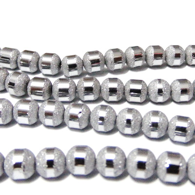 Margele sticla, argintii, stardust cu linie argintie, 7x6mm 1 buc