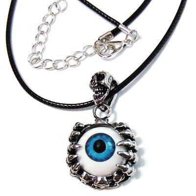 Colier pe ata cerata neagra cu pandantiv ochi albastru din rasina 1 buc