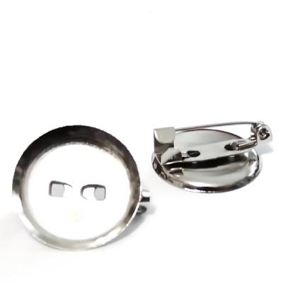 Baza cabochon, suport brosa, argintiu inchis, interior 14mm 1 buc