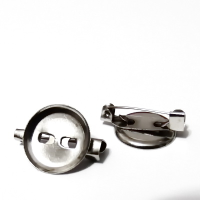 Baza cabochon, suport brosa, argintiu inchis, interior 18mm 1 buc