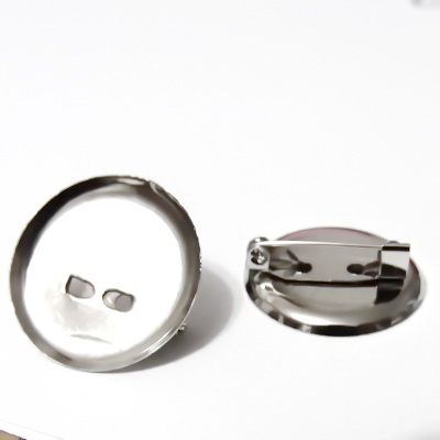 Baza cabochon, suport brosa, argintiu inchis, interior 22mm 1 buc