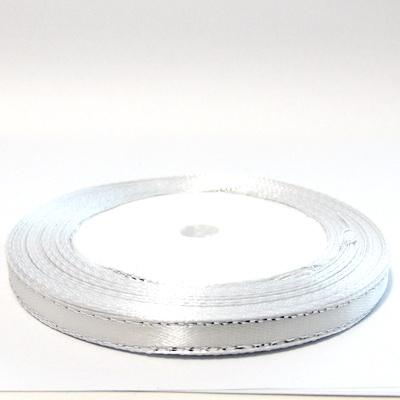 Saten alb cu fir lurex argintiu, 7mm, rola 25 metri 1 buc