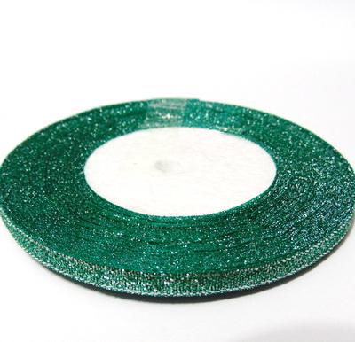 Organza verde inchis cu lurex argintiu, 7mm, rola 25 metri 1 buc