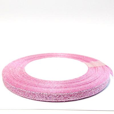 Organza roz cu lurex argintiu, 7mm, rola 25 metri 1 buc