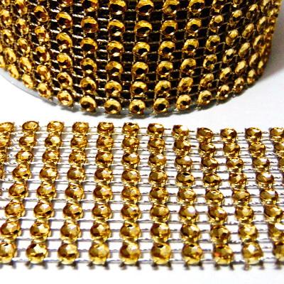 Panglica strasuri aurii, 4cm, rola 3m 1 buc