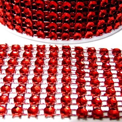 Panglica strasuri rosii, 4cm, rola 3m 1 buc