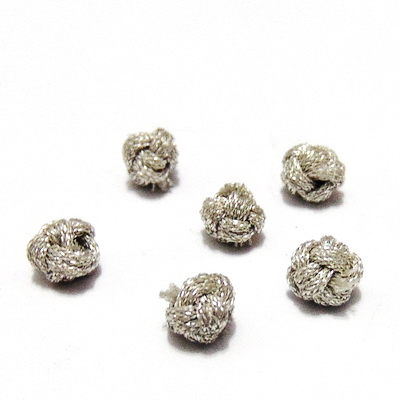 Margele argintii, tesatura din ata, 6~7mm 1 buc