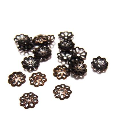 Capace filigran culoare cupru, 6x1mm-1 gram(30-35 buc) 1 buc