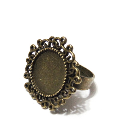 Baza cabochon, culoare bronz, inel, reglabil, platou 24mm, interior 14mm 1 buc