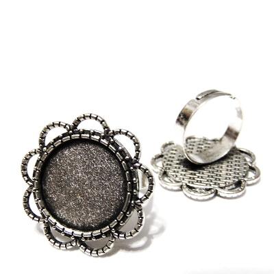 Baza cabochon, argint tibetan, inel, platou 28x21mm, interior 18mm 1 buc