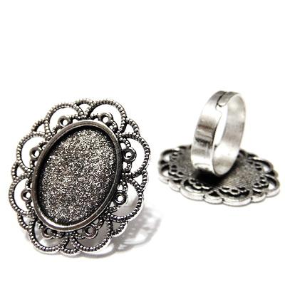 Baza cabochon, argint tibetan, inel, platou 30x25mm, interior 18x13mm 1 buc