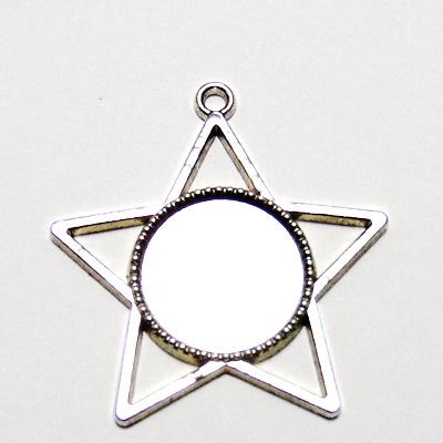 Baza cabochon, argint tibetan, pandantiv, stea 38mm, interior 18mm 1 buc