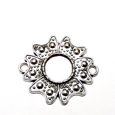 Baza cabochon, argint tibetan, pandantiv, floare 35x31mm, interior 12mm 1 buc