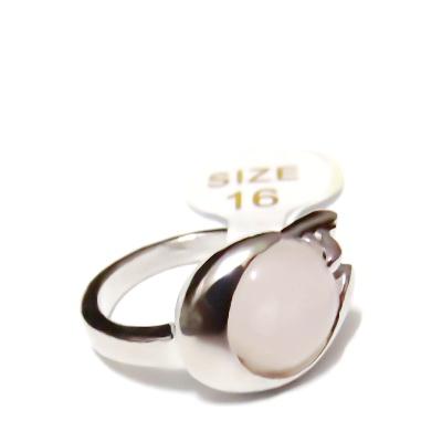 Inel argintiu inchis, electroplacat, cabochon cuart, diametru 16mm 1 buc
