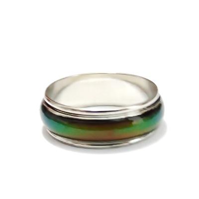 Inel argintiu inchis cu banda rotativa, diametru17mm 1 buc