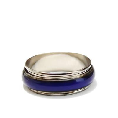 Inel argintiu inchis cu banda rotativa, diametru19mm 1 buc