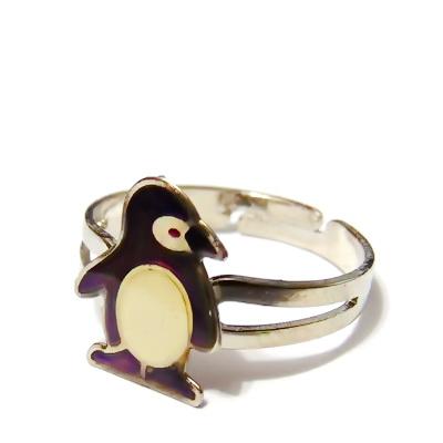 Inel argintiu inchis, reglabil, cu platou pinguin, 14x11mm 1 buc