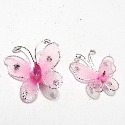 Fluturasi organza roz cu glitter, pe sarma modelaj, 24x24mm  1 buc