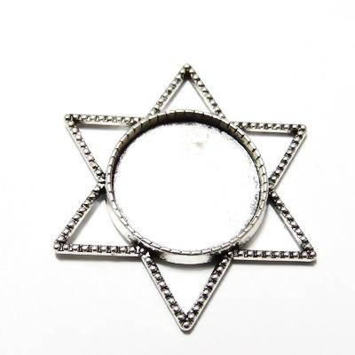 Baza cabochon, argint tibetan, link, steaua lui David, 35x35mm, interior 20mm 1 buc