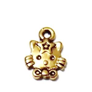 Pandantiv metalic, auriu-antic, cap de pisica, 11x9mm 1 buc
