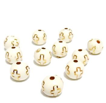Margele plastic crem cu insertii cruciulite aurii, 10mm 10 buc