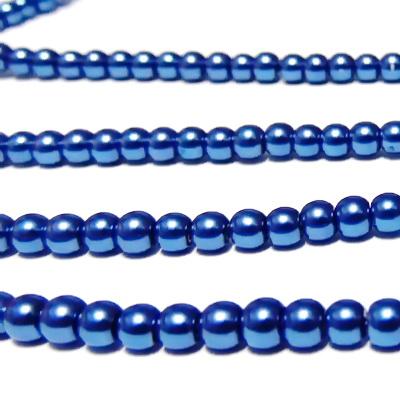 Perle sticla, albastre, 4mm 10 buc