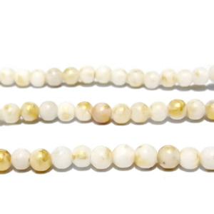 Jad alb cu imprimeu auriu, 4mm 1 buc