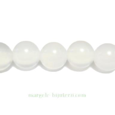Agata alb, translucid, 8mm 1 buc