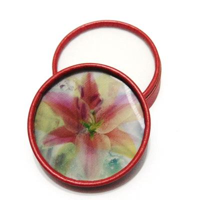 Cutie carton pt.lant si cercei, rosie cu capac cu imagine dubla,  8.5x3.5cm 1 buc