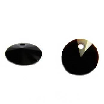 Pandantiv sticla, rivoli, negru, 10x5mm 1 buc