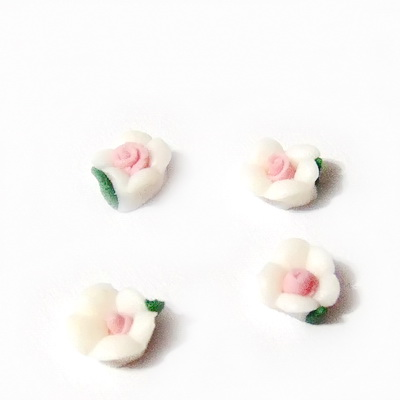 Cabochon portelan alb, floare 5~5.5x5~5.5x3~3.5mm 1 buc