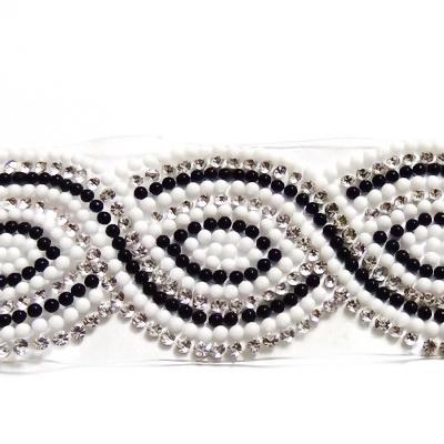 Banda cu rhinestone si cabochoare sticla albe si negre de 1.5mm, 39x2~3.5cm 1 buc