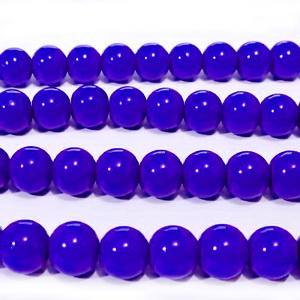 Margele sticla, albastru-cobalt, 8mm 10 buc
