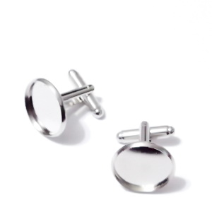 Baza cabochon, buton, argintiu inchis, 18mm, interior 16mm 1 buc