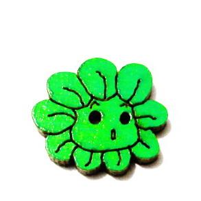 Nasturi lemn cu desen floare verde, 20x18x3mm 1 buc