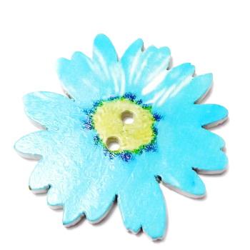 Nasturi lemn cu desen floare bleu, 34x3mm 1 buc