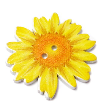 Nasturi lemn cu desen floare galbena, 34x3mm 1 buc