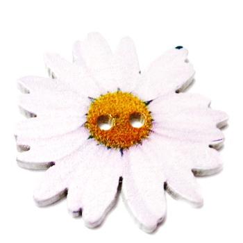 Nasturi lemn cu desen floare mov deschis, 34x3mm 1 buc