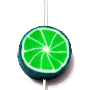 Margele polymer, lime, 10x4mm 1 buc
