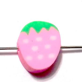 Margele polymer, zmeura roz, 10x10x4mm 1 buc