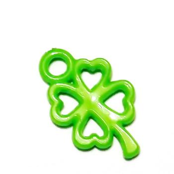Pandantiv plastic verde, trifoi cu 4 foi, 25x16x2.5mm 1 buc