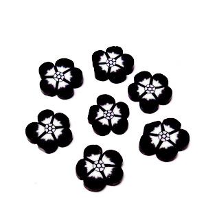 Cabochon polymer, floare neagra 9~10x1~2mm 1 buc