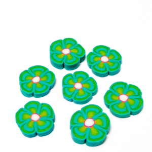 Cabochon polymer, floare verde 9~10x1~2mm 1 buc