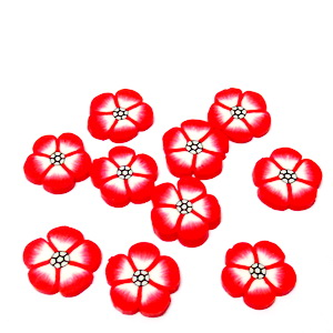 Cabochon polymer, floare rosie, 9~10x1~2mm 1 buc