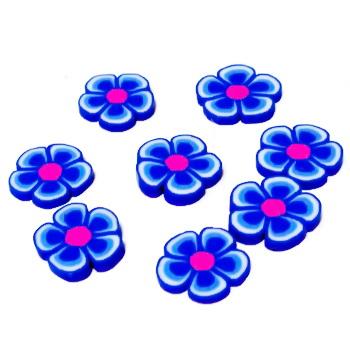 Cabochon polymer, floare albastru inchis, 9~10x1~2mm 1 buc
